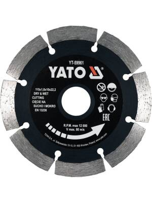 YT-59961, Disc diamantat, 115mm 1.8mm, crestat, taiere uscata, Yato